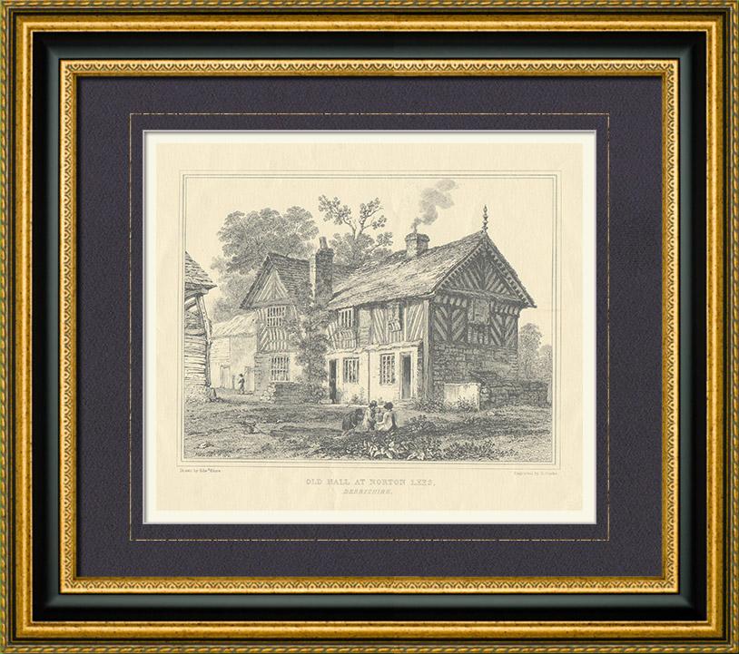Gravures Anciennes & Dessins | Maison ancienne à Norton Lees - Sheffield - Derbyshire (Angleterre - Grande-Bretagne - Royaume-Uni) | Taille-douce | 1840
