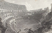 View of Rome -  Ruins of Colosseum - Roman Coliseum - Flavian Amphitheater (Italy)