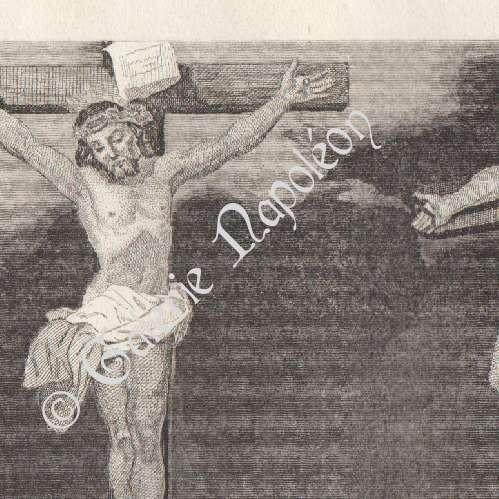 buy popular release date: cozy fresh Gravure en taille-douce | 1840 | Crucifixion du Christ - Christ crucifié  entre deux larrons - Les sept paroles du Christ sur la Croix