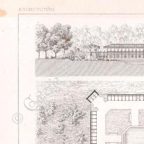Gravures anciennes dessin d 39 architecte piscine lyc e for Piscine vanves