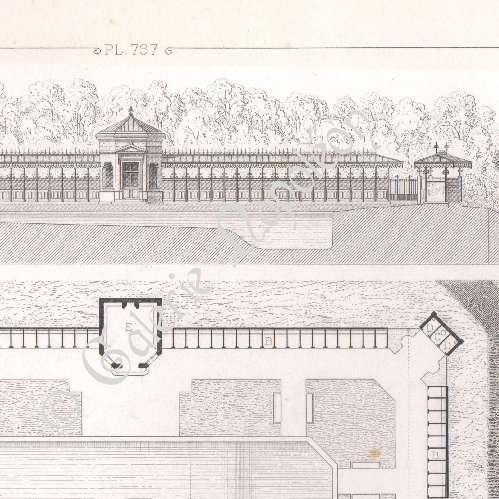 Gravures anciennes dessin d 39 architecte piscine lyc e for Architecte ile de france