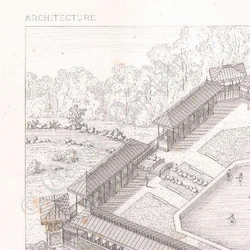 gravures anciennes dessin d 39 architecte piscine lyc e de vanves ile de france a normand. Black Bedroom Furniture Sets. Home Design Ideas