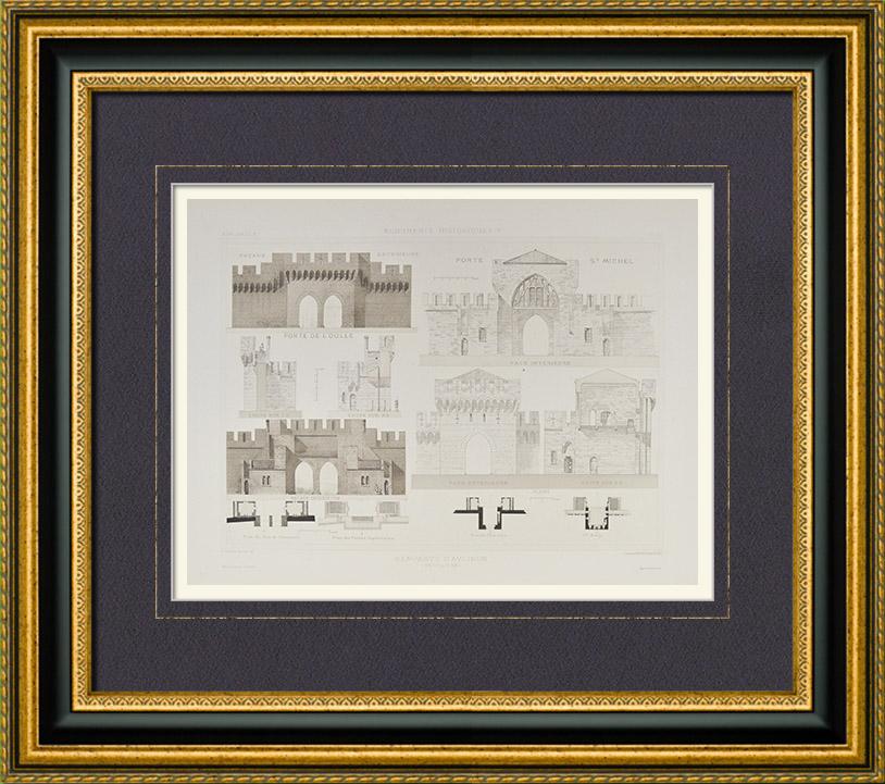 Stampe antiche remparts d 39 avignon fortificazione di avignone baluardo porte saint michel - Porte saint dominique avignon ...