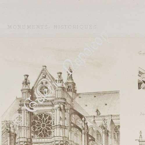 Antique prints saint eustache church in paris france for Domon furniture st eustache