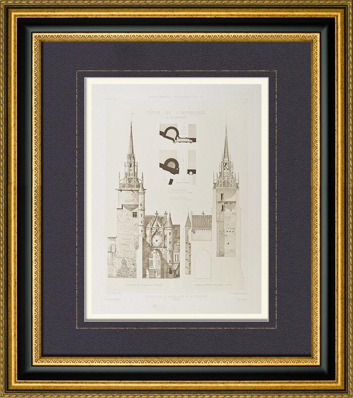 gravures anciennes tour de l 39 horloge auxerre bourgogne yonne france h liogravure 1892. Black Bedroom Furniture Sets. Home Design Ideas