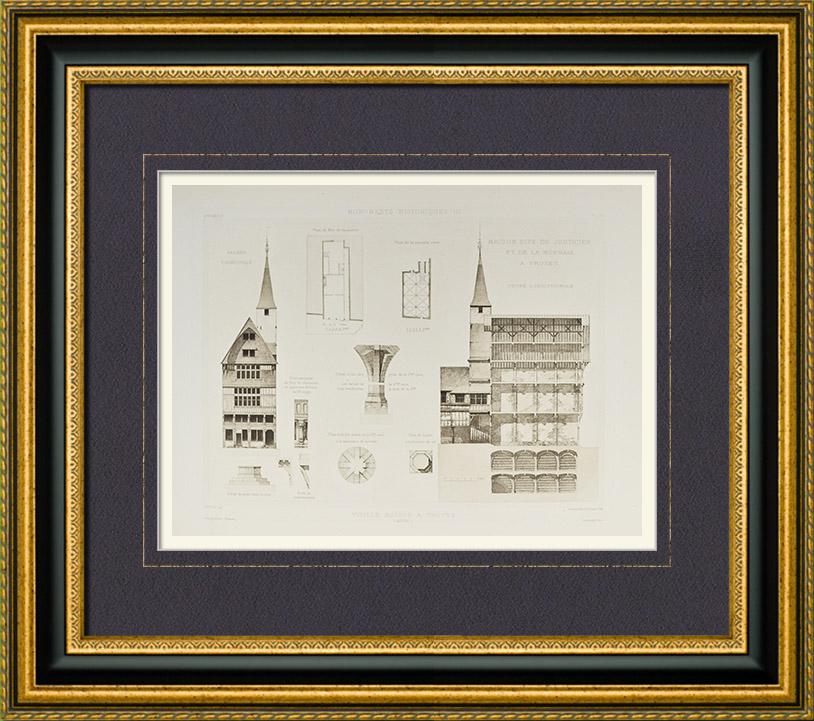 Gravures Anciennes & Dessins | Maison ancienne à Troyes - Maison du Justicier et de la Monnaie - Champagne-Ardenne - Aube (France) | Héliogravure | 1892