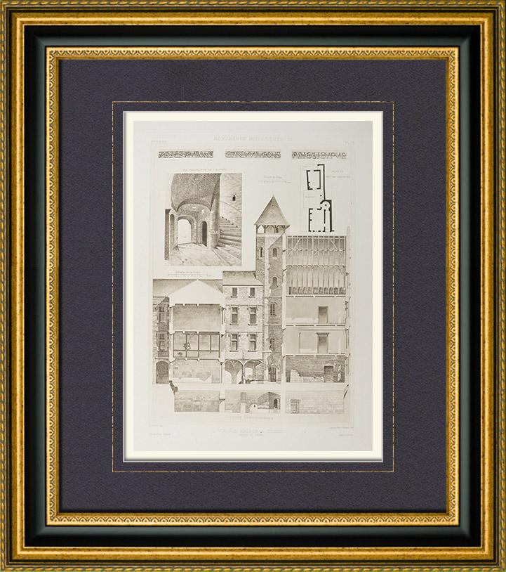 Grabados & Dibujos Antiguos   Casa antigua en Tours - Tristant l'Hermite - Centro-Valle de Loira - Indre y Loira (Francia)   Heliograbado   1892