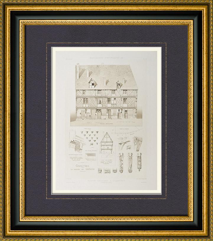 Gravures Anciennes & Dessins   Maison ancienne de Chartres - Maison du Saumon - Centre-Val de Loire - Eure-et-Loir (France)   Héliogravure   1892