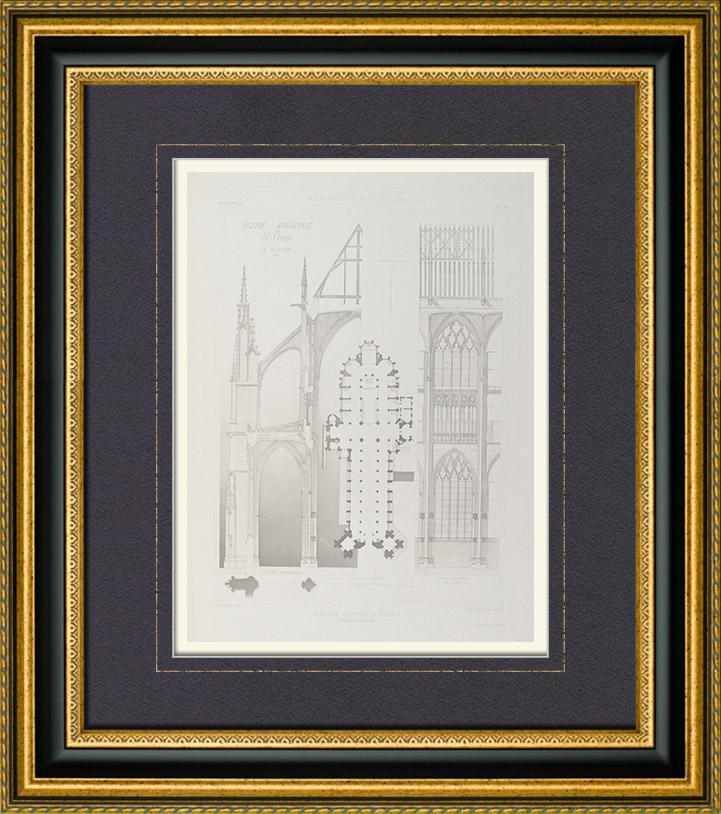 alte stiche kirche saint ouen von rouen haute normandie seine maritime frankreich. Black Bedroom Furniture Sets. Home Design Ideas