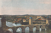 View of Cahors - Bridge - Pont Valentré - Lot (France)