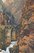 Pyrénées - Brücke und Schlucht von Hourat - Eaux-Chaudes - Pyrénées-Atlantiques (Frankreich)