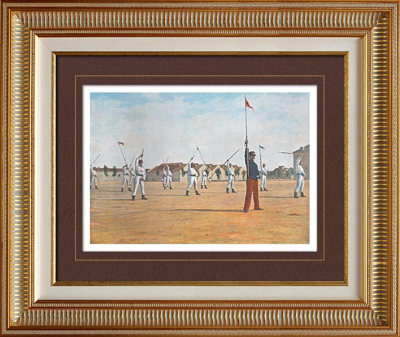 Gravures Anciennes & Dessins   Scène de la Vie Militaire - Exercice militaire - Lances (France)   Photochromie   1890