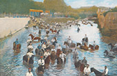 Soldiers - Cavalry - Bathing  - Horses (France)