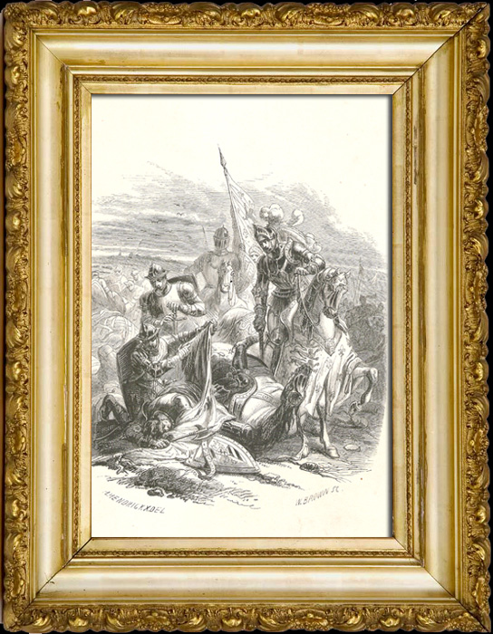 Antique Prints & Drawings | Death of Antoine of Burgundy at the battle of Agincourt | Metal engraving | 1847