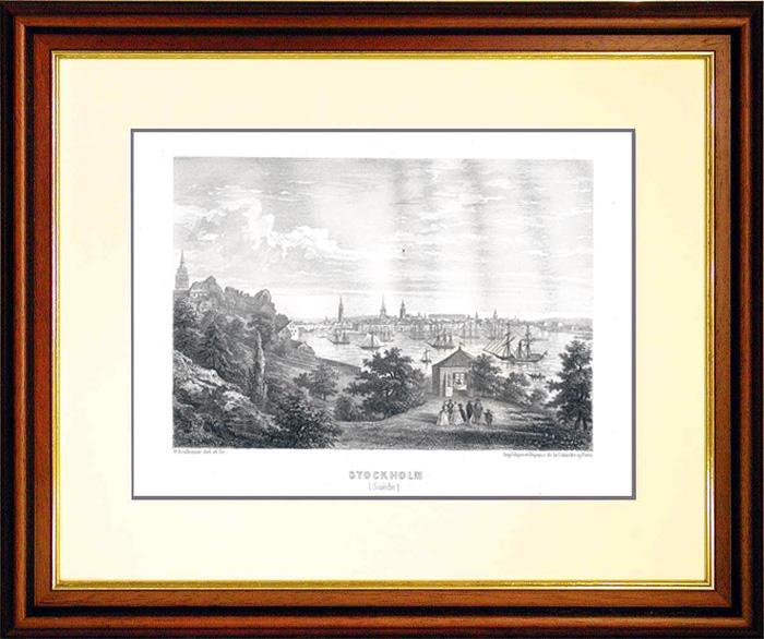 Gravures Anciennes & Dessins | Vue de la Baie de Stockholm (Suède) au 19ème Siècle | Gravure sur métal | 1859