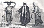 Grabado de Turquía Siglo 18 - Vestuario de un comerciante turco de Merdin, un comerciante de mermelada y un Barbero