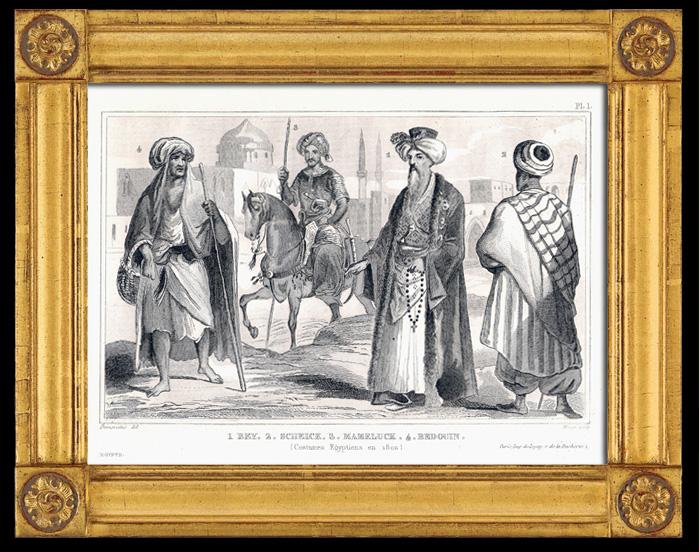 Gravures Anciennes & Dessins | Egypte 19ème Siècle - Costumes égyptiens : Bey, Scheick, Mameluck, Bédouin | Gravure sur métal | 1838