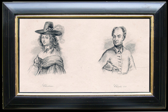 Antique Prints & Drawings | Portraits of Christina and Charles XII of Sweden | Engraving | 1810