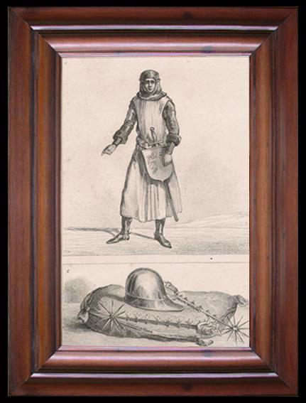 Gravures Anciennes & Dessins | Ancien Chevalier - Casque et éperons de Saint Olaüs | Gravure | 1810