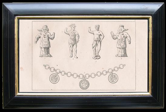 Gravures Anciennes & Dessins   Statuettes et Collier d'Or - Représentation de Odin et Tyr - divinités de la mythologie nordique   Gravure   1810