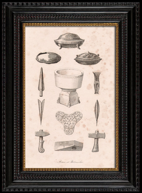 Antique Prints & Drawings | Viking Weapons and Utensils | Engraving | 1810