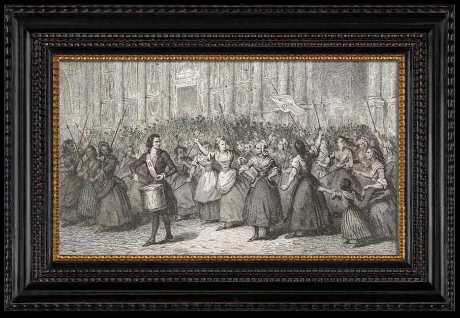 gravures anciennes r volution fran aise d part des femmes de la halle pour versailles 1789. Black Bedroom Furniture Sets. Home Design Ideas