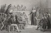 Stich von Französische Revolution : Maria Antonia - Marie-Antoinette vor dem revolutionären Gericht (1793)
