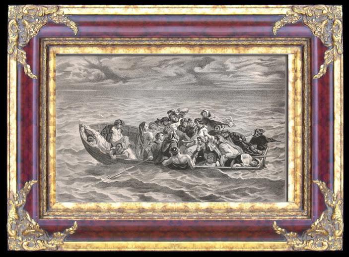 Antique Prints & Drawings | The Shipwreck of Don Juan (Eugène Delacroix) | Lithography | 1841