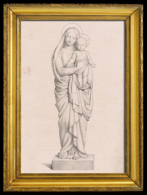 Gravures Anciennes & Dessins   Groupe en marbre de la Vierge  et l'enfant Jésus par Eugène Andre Oudine (Paul Flandrin)   Lithographie   1842