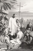 Saint Francis Xavier baptizing and curing the sick indians (Germain Paget)