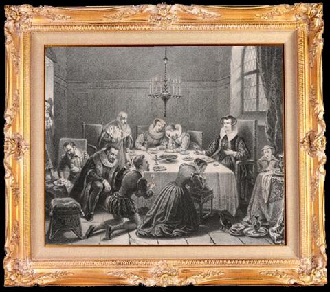 Gravures Anciennes & Dessins   Dernier repas de Marie Stuart (Serrun)   Lithographie   1840