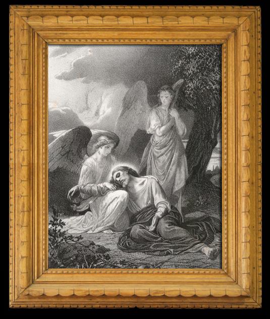 Gravures Anciennes & Dessins   Scène biblique : L'agonie de Jésus au Jardin des Oliviers (Alexandre Cabanel)   Lithographie   1844