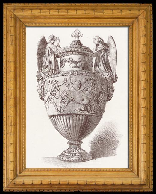 Gravures Anciennes & Dessins | Vase funéraire en Marbre Blanc  (Jean-Jacques Pradier) | Lithographie | 1840