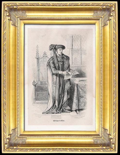 Gravures Anciennes & Dessins | Portrait de Philippe III de Bourgogne dit Philippe le Bon (1396-1467) | Taille-douce | 1826