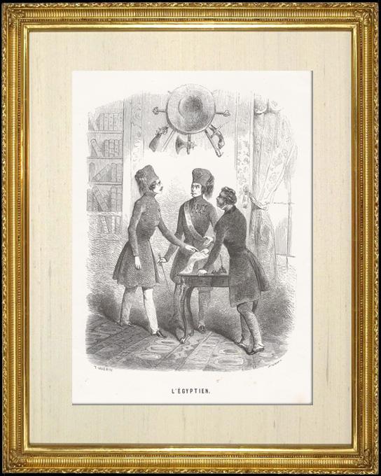 Gravures Anciennes & Dessins | Scène de genre, Costume et Tradition du Monde : L'égyptien (Egypte) | Taille-douce | 1892