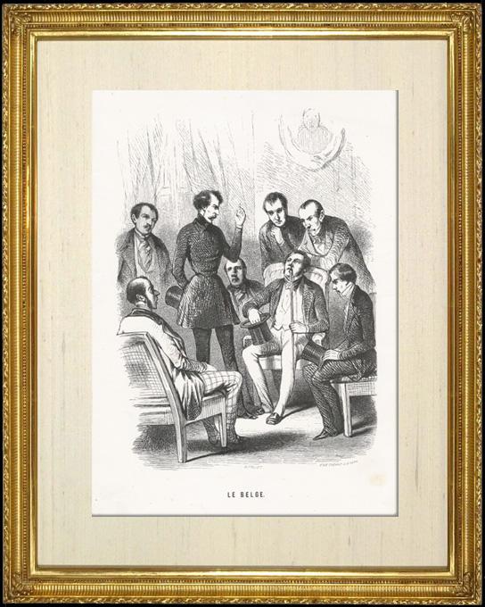 Gravures Anciennes & Dessins   Scène de genre, Costume et Tradition du Monde : Le Belge (Belgique)   Taille-douce   1892