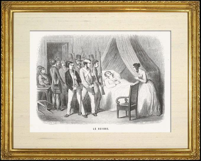Gravures Anciennes & Dessins   Scène de genre, Costume et Tradition du Monde : Le Suisse (Suisse)   Taille-douce   1892