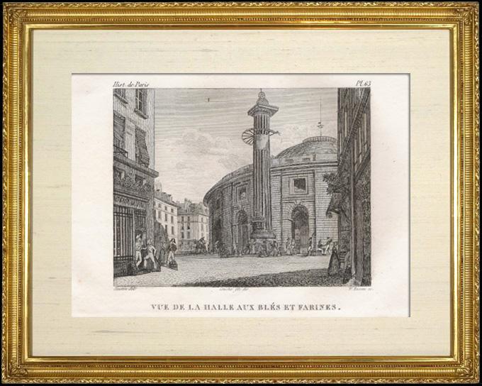 Antique Prints & Drawings | History and Monuments of Paris - Wheat and Flour Market Place (Halle aux Blés et Farines) | Intaglio print | 1828