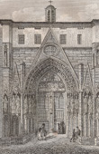Stich von Geschichte und Denkmäler von Paris - Tür der Kirche das Heilige Grab (église du Saint Sépulchre)