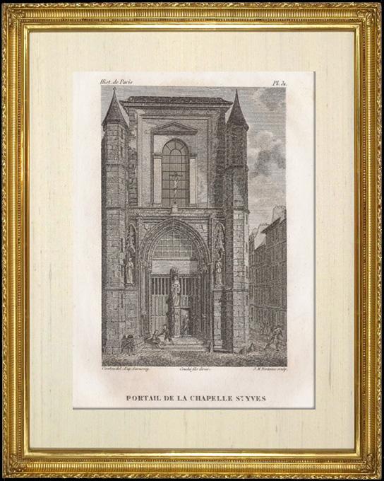 Gravures Anciennes & Dessins | Histoire  et Monuments de Paris - Portail de la Chapelle Saint Yves | Taille-douce | 1828