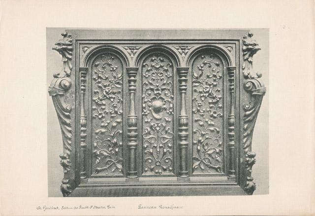 Gravures Anciennes & Dessins | [02/56] - Meubles en Bois Sculpté et Sculptures sur Bois par Gustave Gallerey - Panneau de Style Renaissance | Planche | 1894