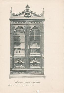 [04/56] - Französische Antike Möbel - Geschnitzte Hölzerne - Antikes Gravuren in Holz durch Gustave Gallerey - Möbelstil - Stil Französische Gotik - B