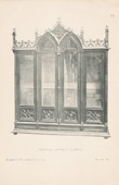 Antique print - [16/56] - Antique french carved wooden furnitures and Antique Woodcarving by Gustave Gallerey - French Gothic Style Bookcase (Bibliotheque)