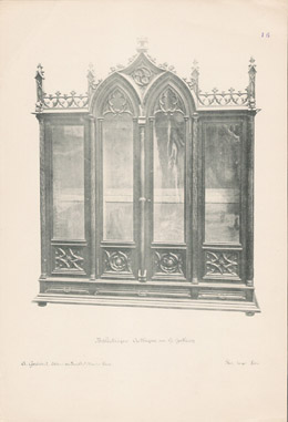[16/56] - Antique french carved wooden furnitures and Antique Woodcarving by Gustave Gallerey - French Gothic Style Bookcase (Bibliotheque)