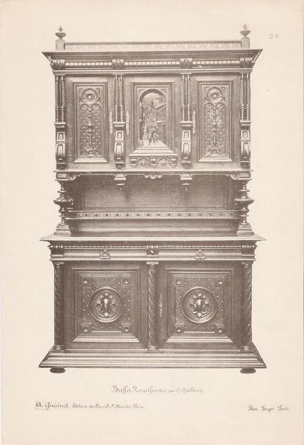 Gravures Anciennes [26 56] Meubles en Bois Sculpté et Sculptures sur Bois par Gustave  # Meuble Sculpté Bois