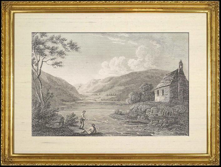 Gravures Anciennes & Dessins | Eglise et Rivière - Tal y elin - North Wales (Pays de Galles) | Gravure sur cuivre | 1812