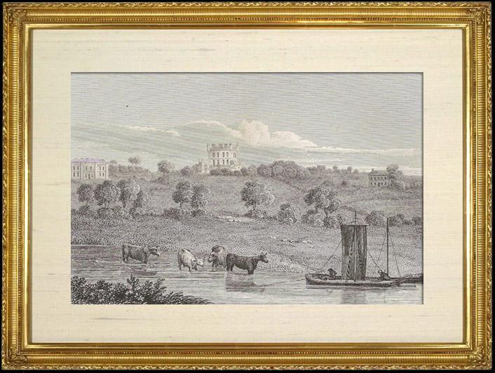 Gravures Anciennes & Dessins | Wollaton Hall  - Rives de la Rivière Trent - Nottinghamshire  (Angleterre) | Gravure sur cuivre | 1812