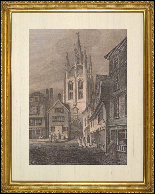 Antique Prints & Drawings | View in Newcastle - The Tower of St Nicholas's Church - Northumberland  (England) | Copper engraving | 1808