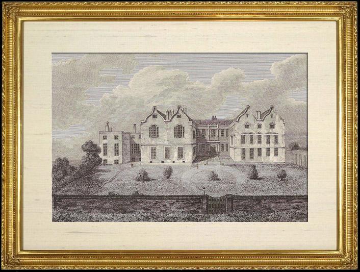 Gravures Anciennes & Dessins   Manoir de Lord Rokeby - Yorkshire (Angleterre)   Gravure sur cuivre   1811