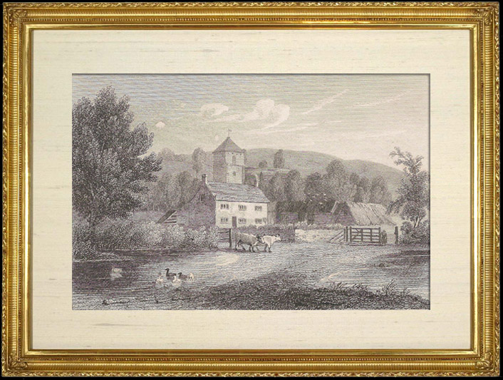 Gravures Anciennes & Dessins   Paysage - église (Angleterre)   Gravure sur cuivre   1805